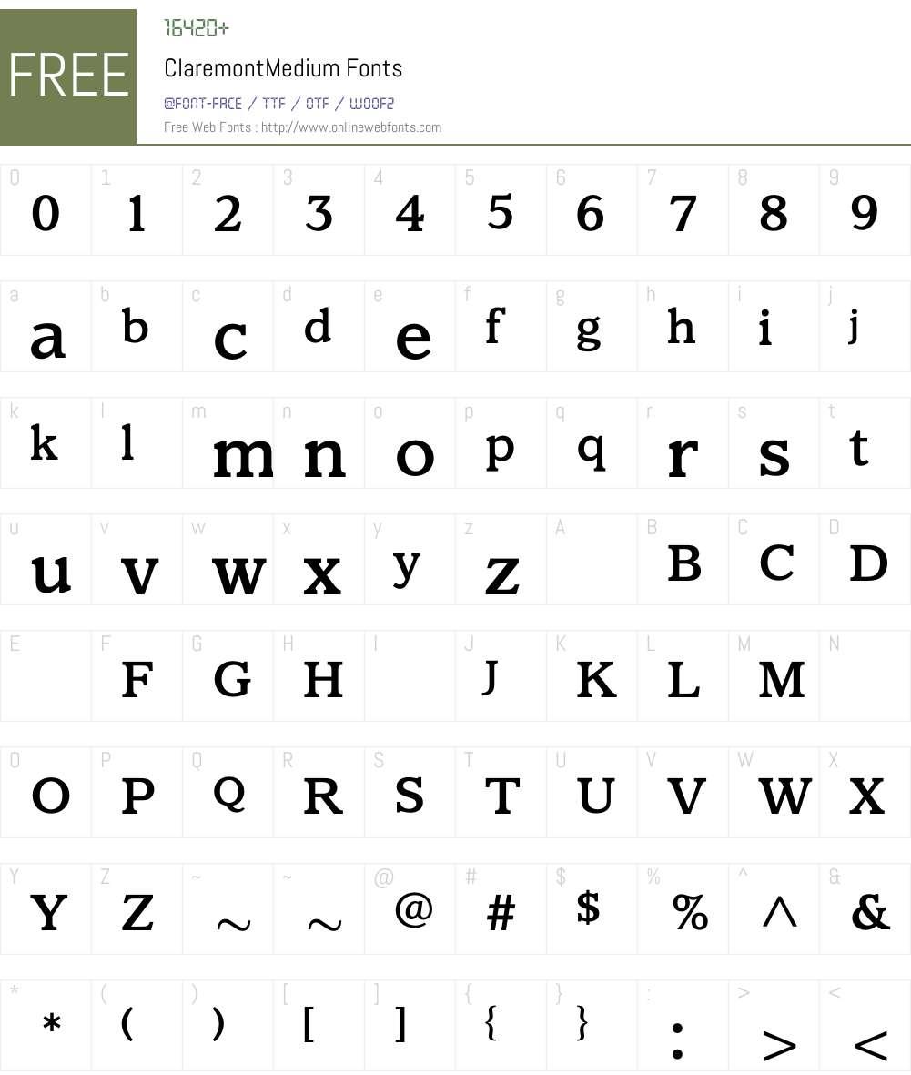 ClaremontMedium Font Screenshots