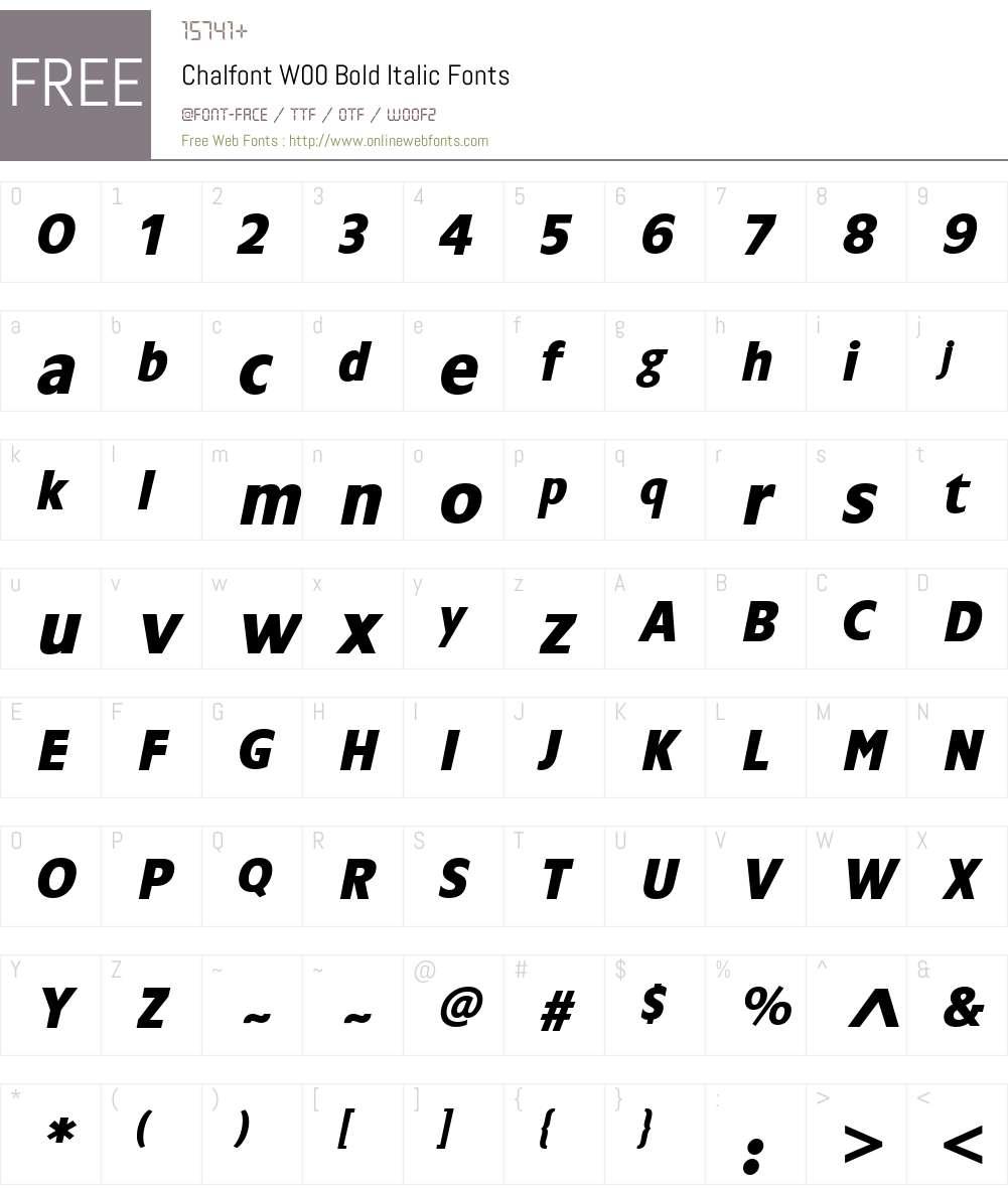 ChalfontW00-BoldItalic Font Screenshots