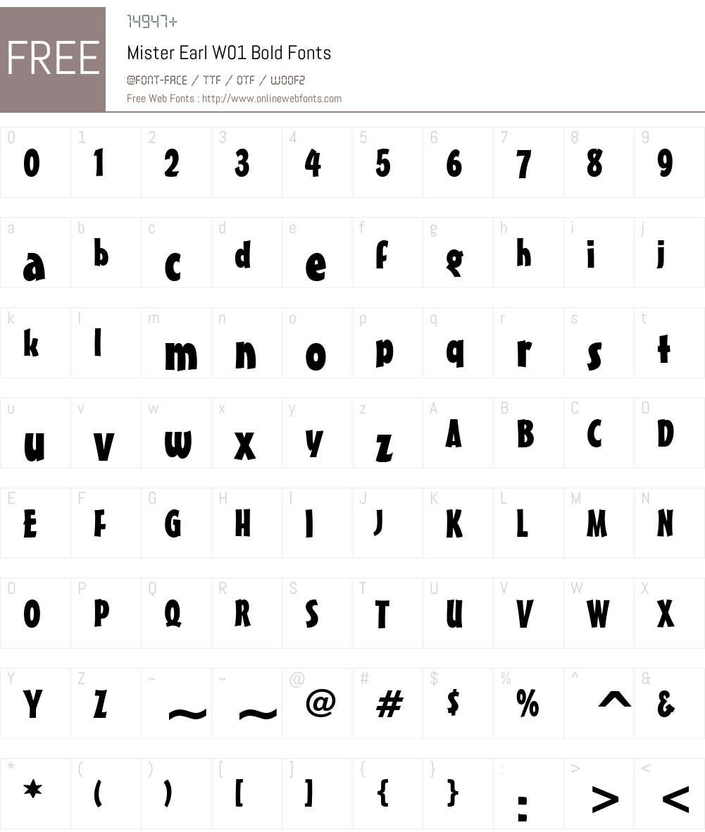 MisterEarlW01-Bold Font Screenshots