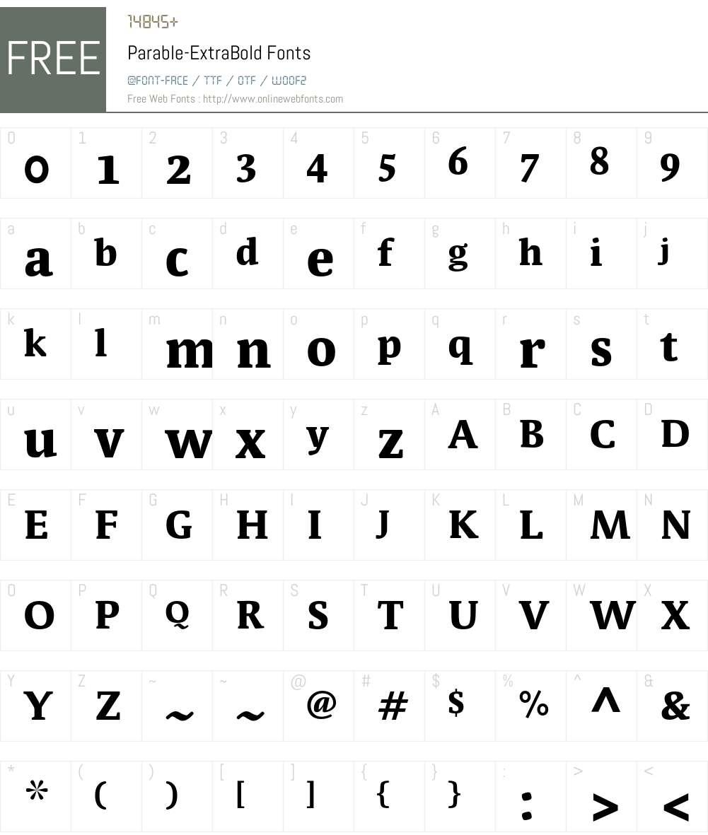 Parable-ExtraBold Font Screenshots
