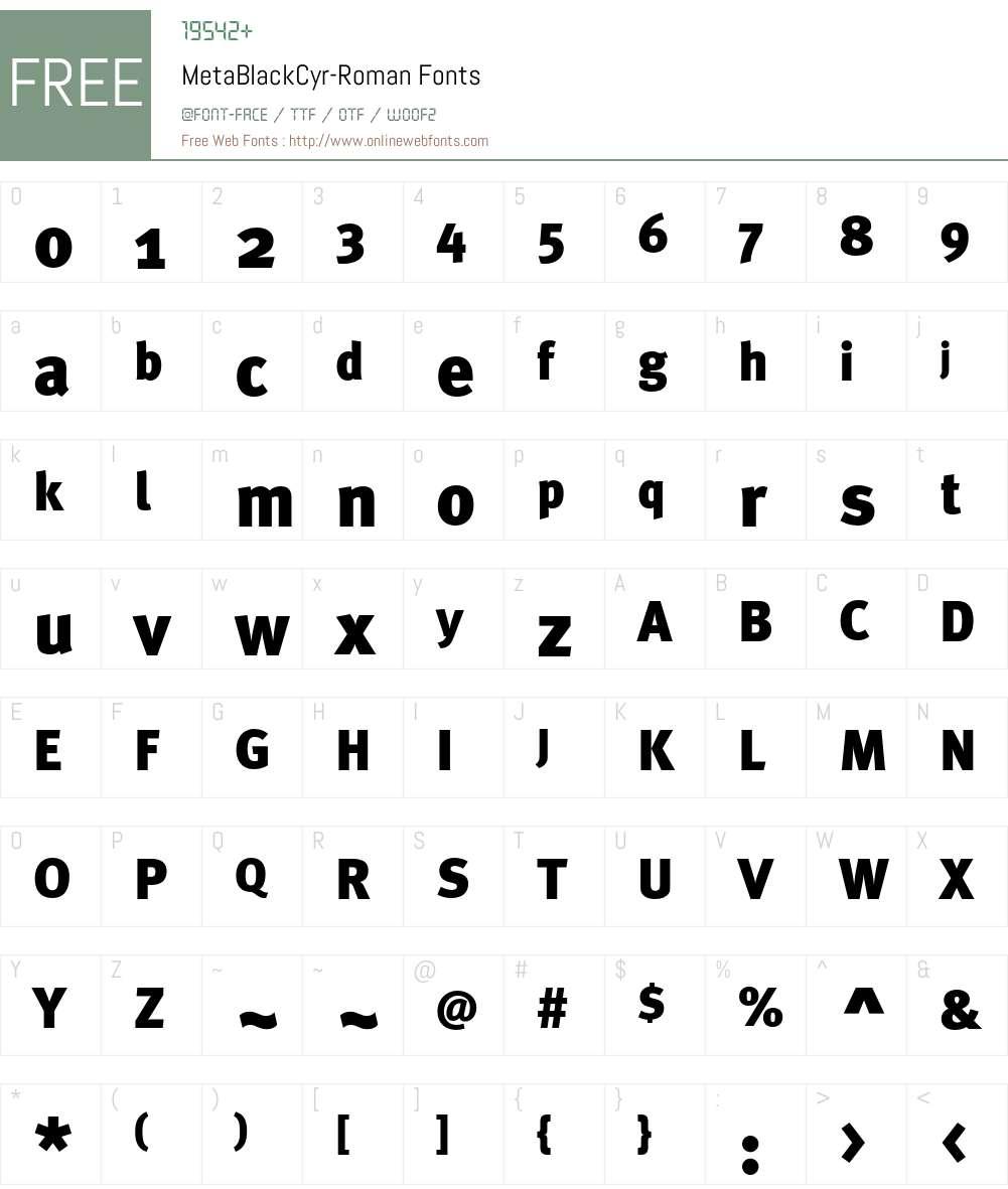 MetaBlackCyr-Roman Font Screenshots