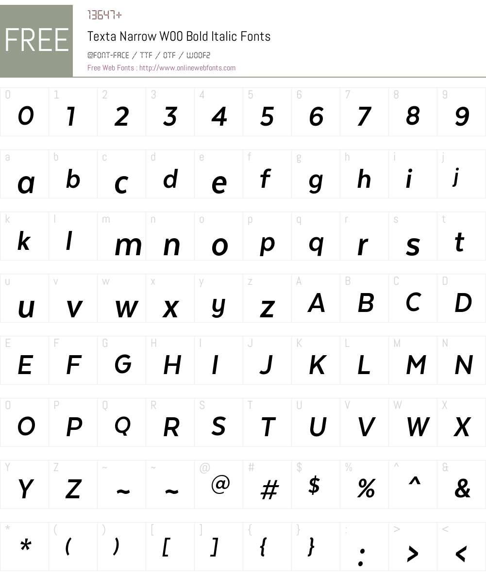 TextaNarrowW00-BoldItalic Font Screenshots