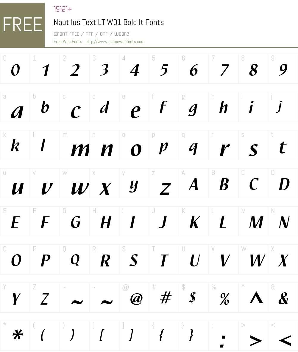NautilusTextLTW01-BoldIt Font Screenshots