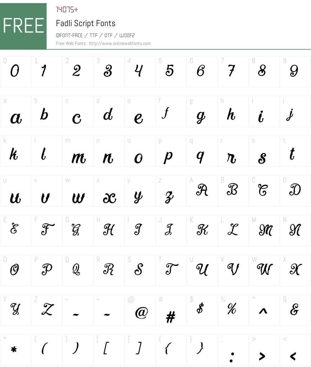 Fadli Script Font Screenshots