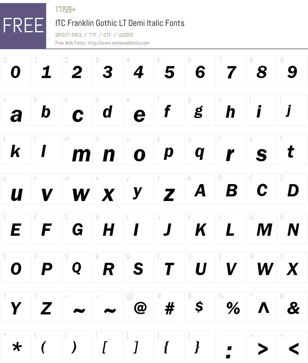 ITC Franklin Gothic LT Font Screenshots