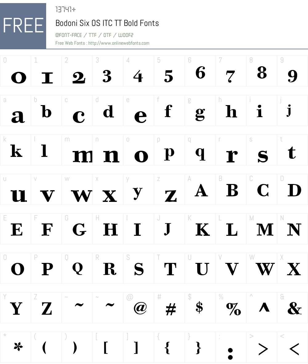 Bodoni Six OS ITC TT Font Screenshots
