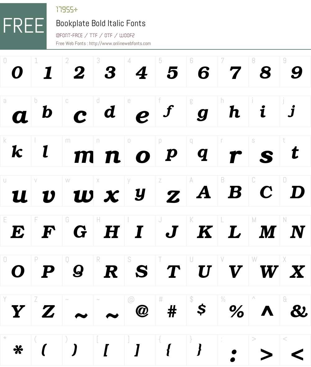 Bookplate Font Screenshots