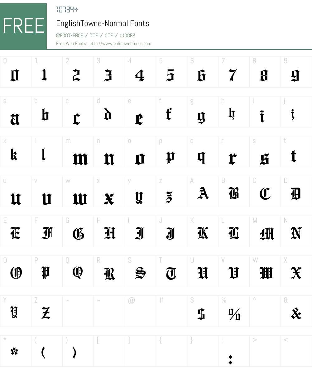 EnglishTowne-Normal Font Screenshots