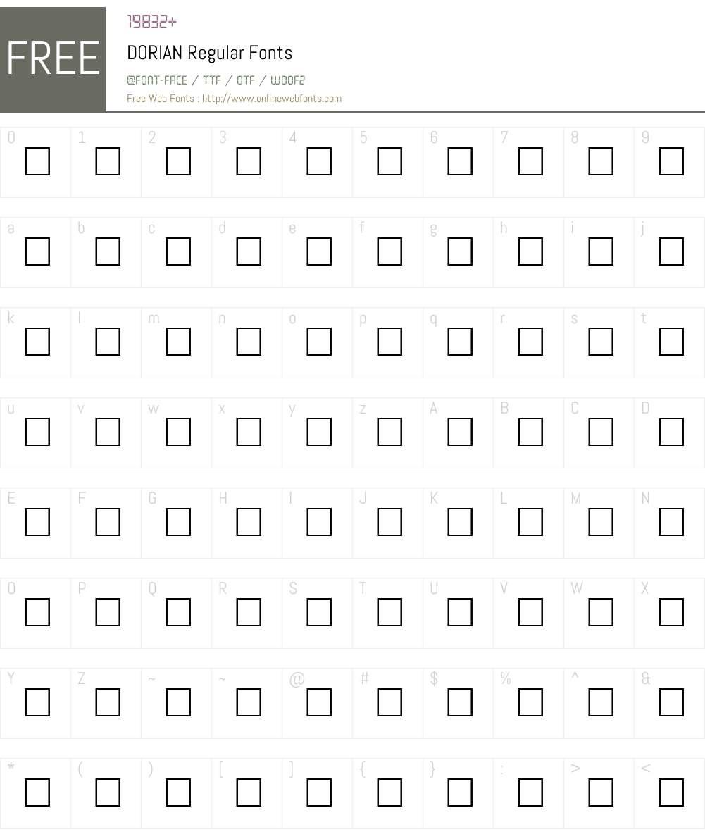 DORIAN Font Screenshots