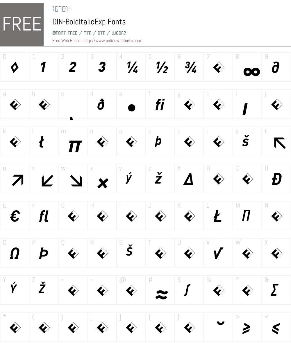 DIN-BoldItalicExp Font Screenshots