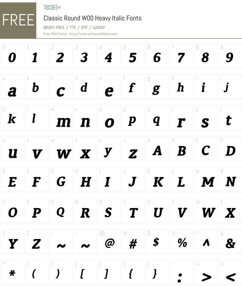 ClassicRoundW00-HeavyItalic Font Screenshots