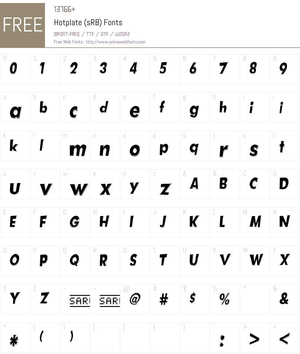 Hotplate (sRB) Font Screenshots