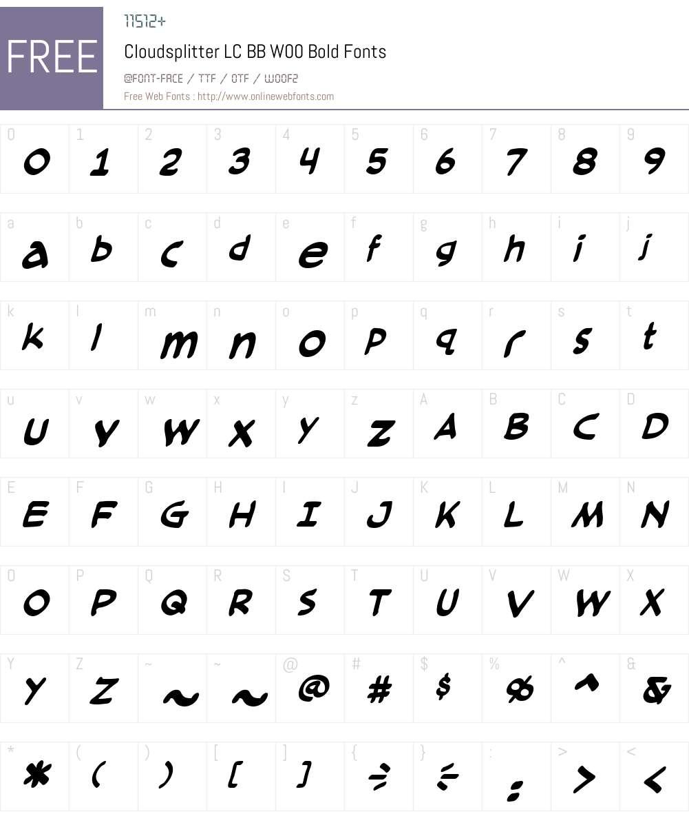 CloudsplitterLCBBW00-Bold Font Screenshots