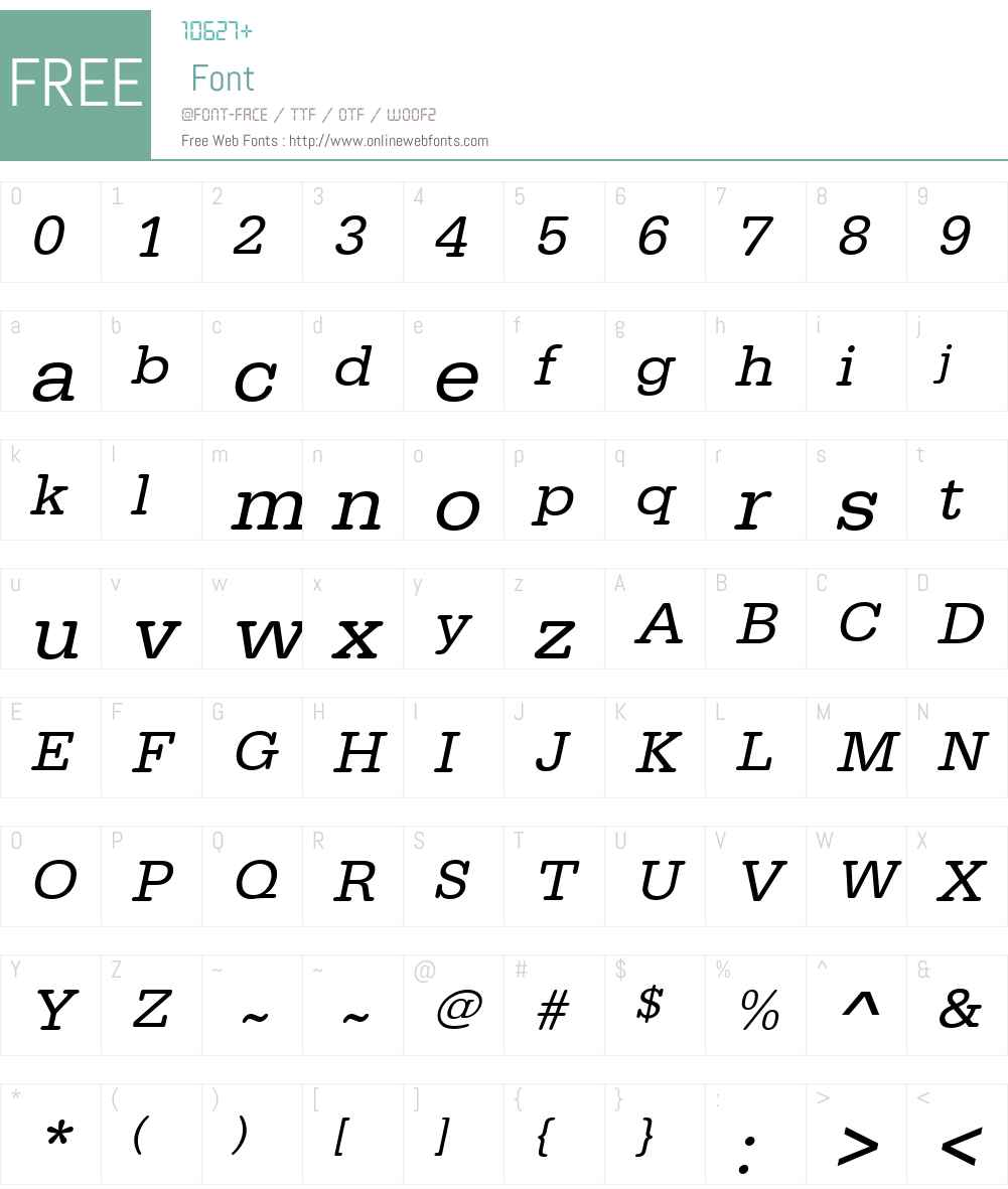 URWTypewriterTWid Font Screenshots