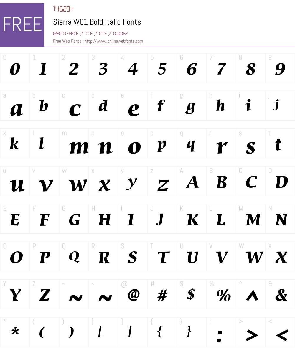 SierraW01-BoldItalic Font Screenshots
