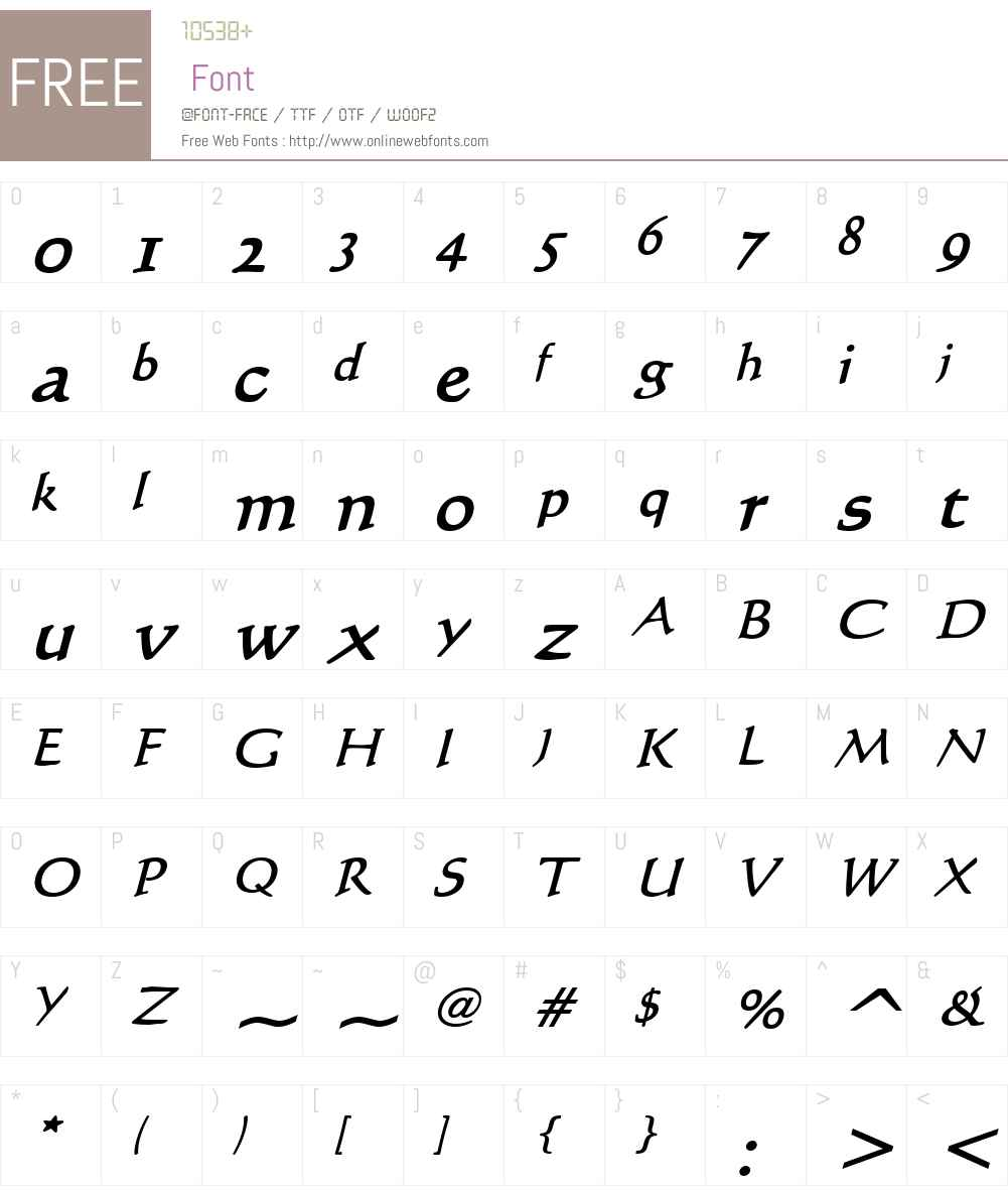 Calli 109 Font Screenshots