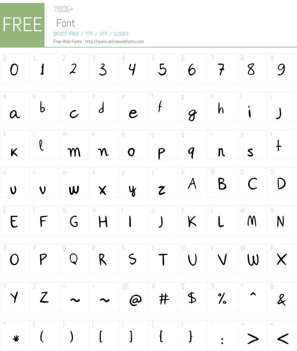 Janepix Handwriting Font Screenshots