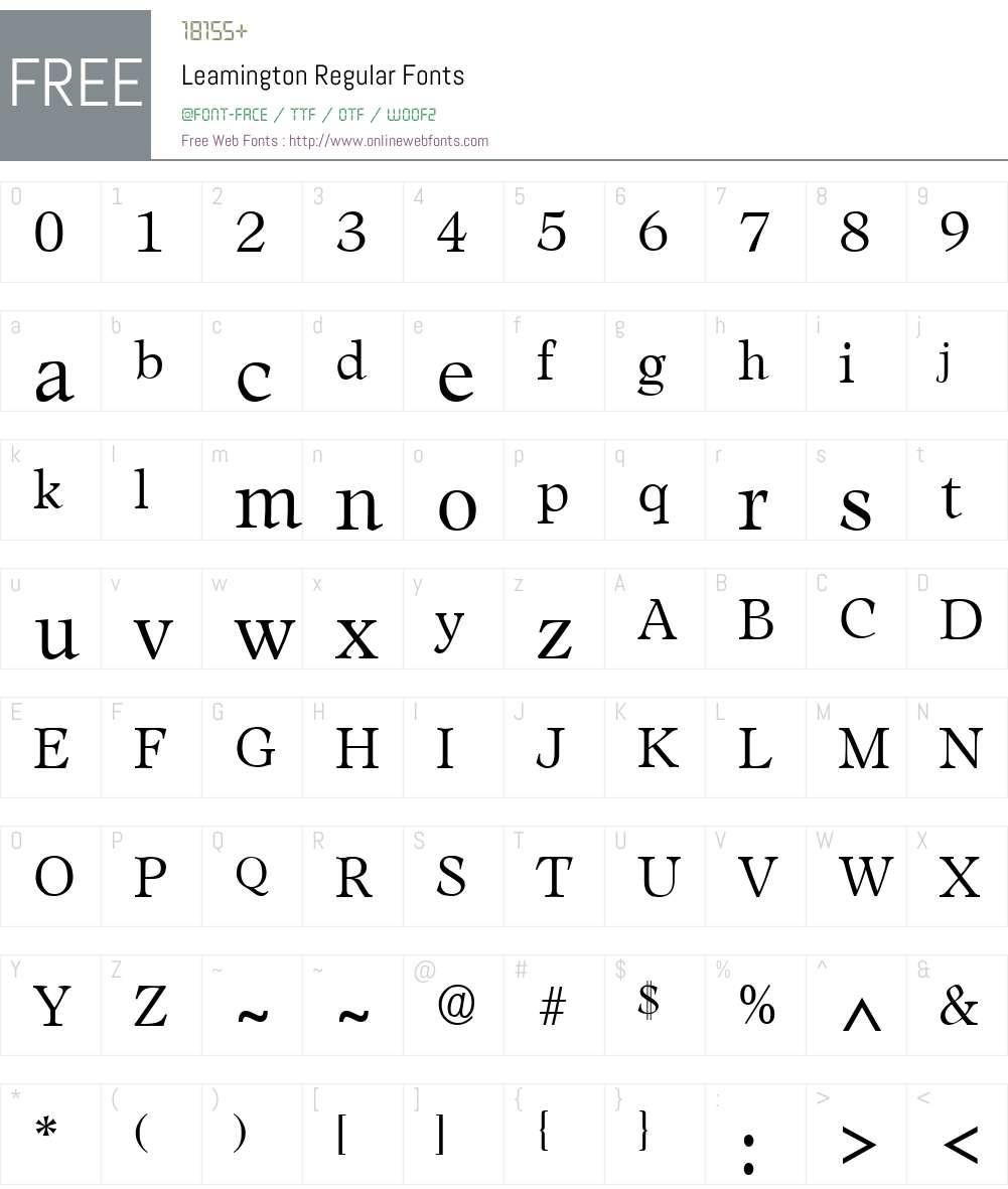 Leamington Font Screenshots