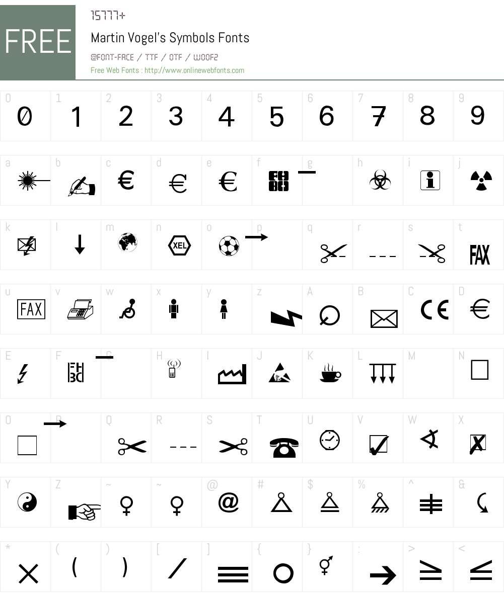Martin Vogel's Symbols Font Screenshots