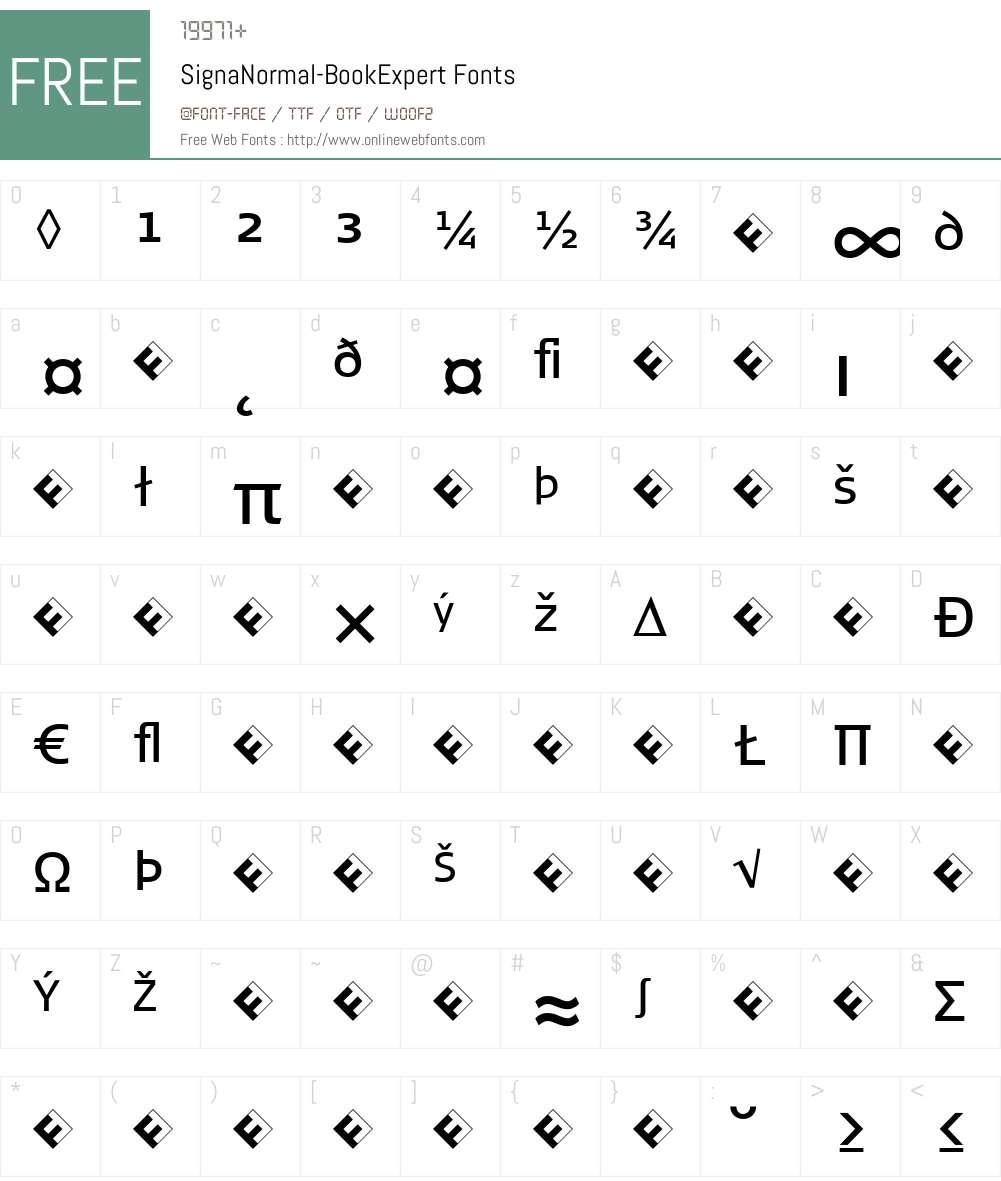SignaNormal-BookExpert Font Screenshots