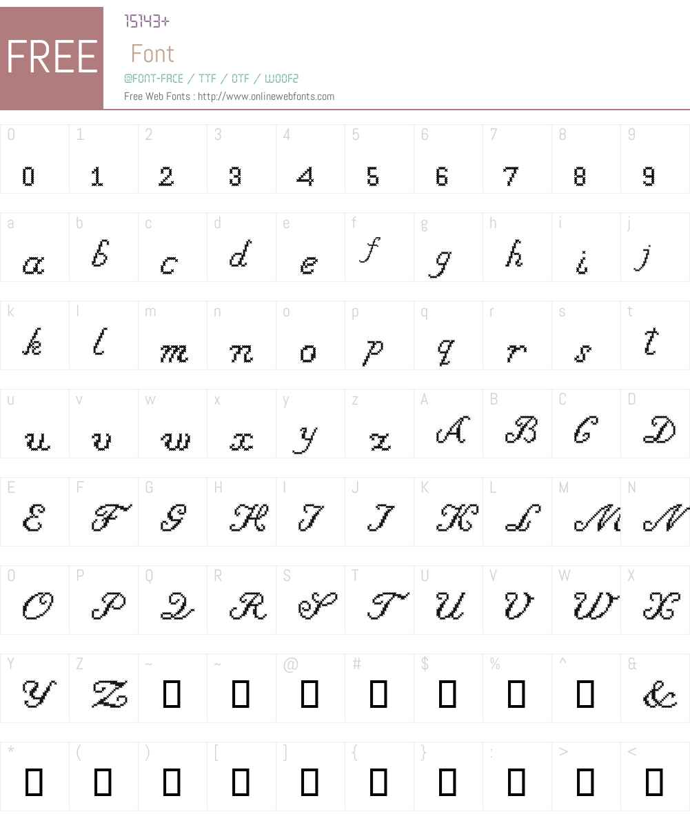 Cross Stitch Cursive Font Screenshots