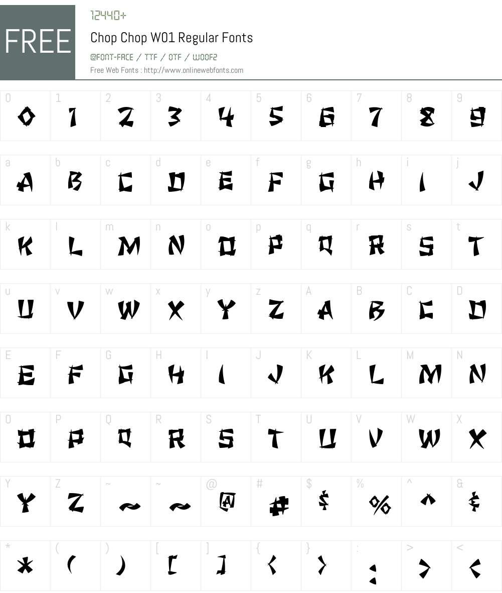 ChopChopW01-Regular Font Screenshots