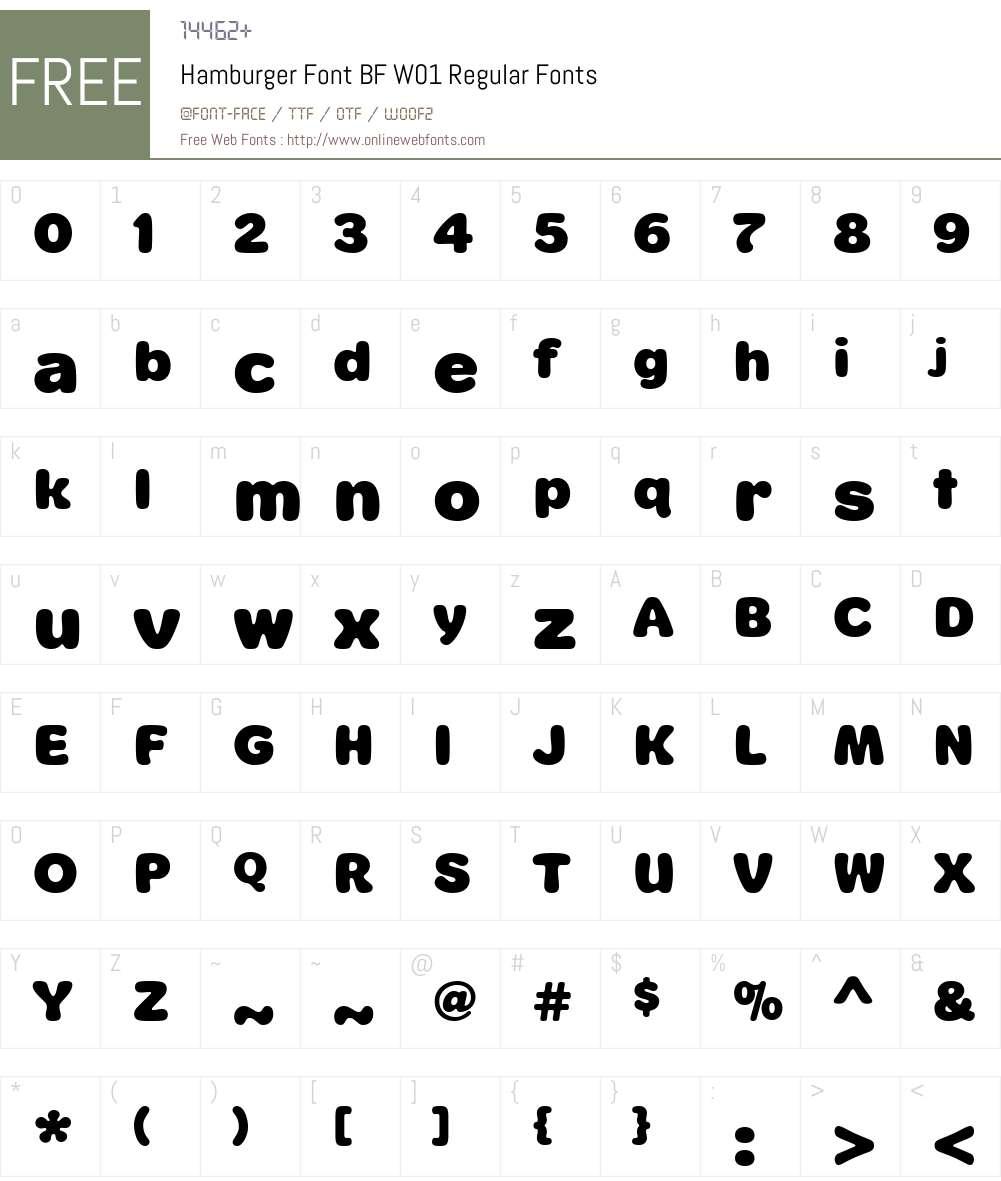 HamburgerFontBFW01-Regular Font Screenshots