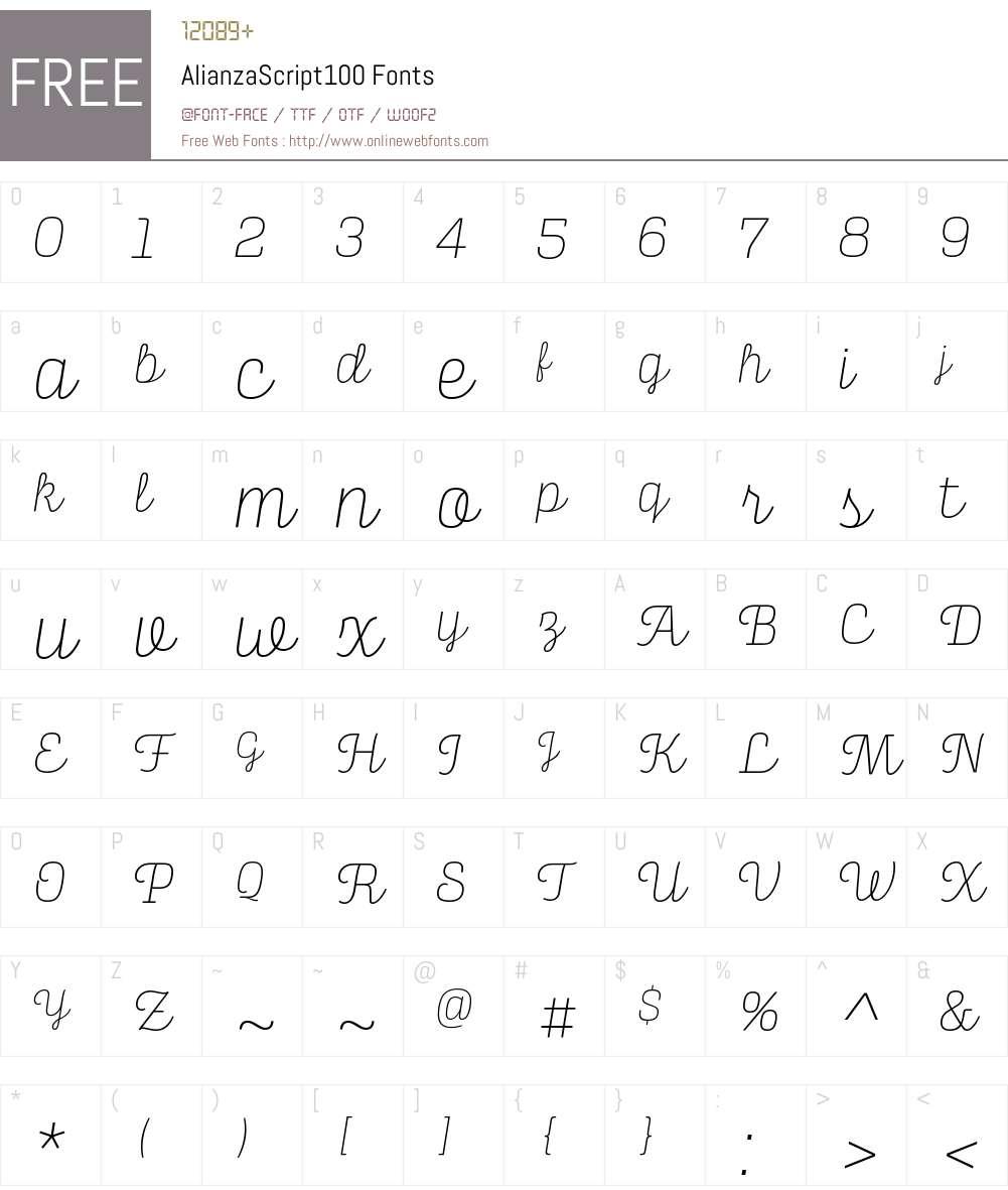 Alianza Script 100 Font Screenshots