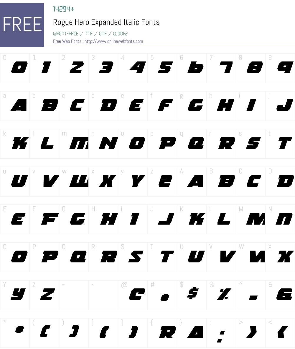 Rogue Hero Expanded Italic Font Screenshots