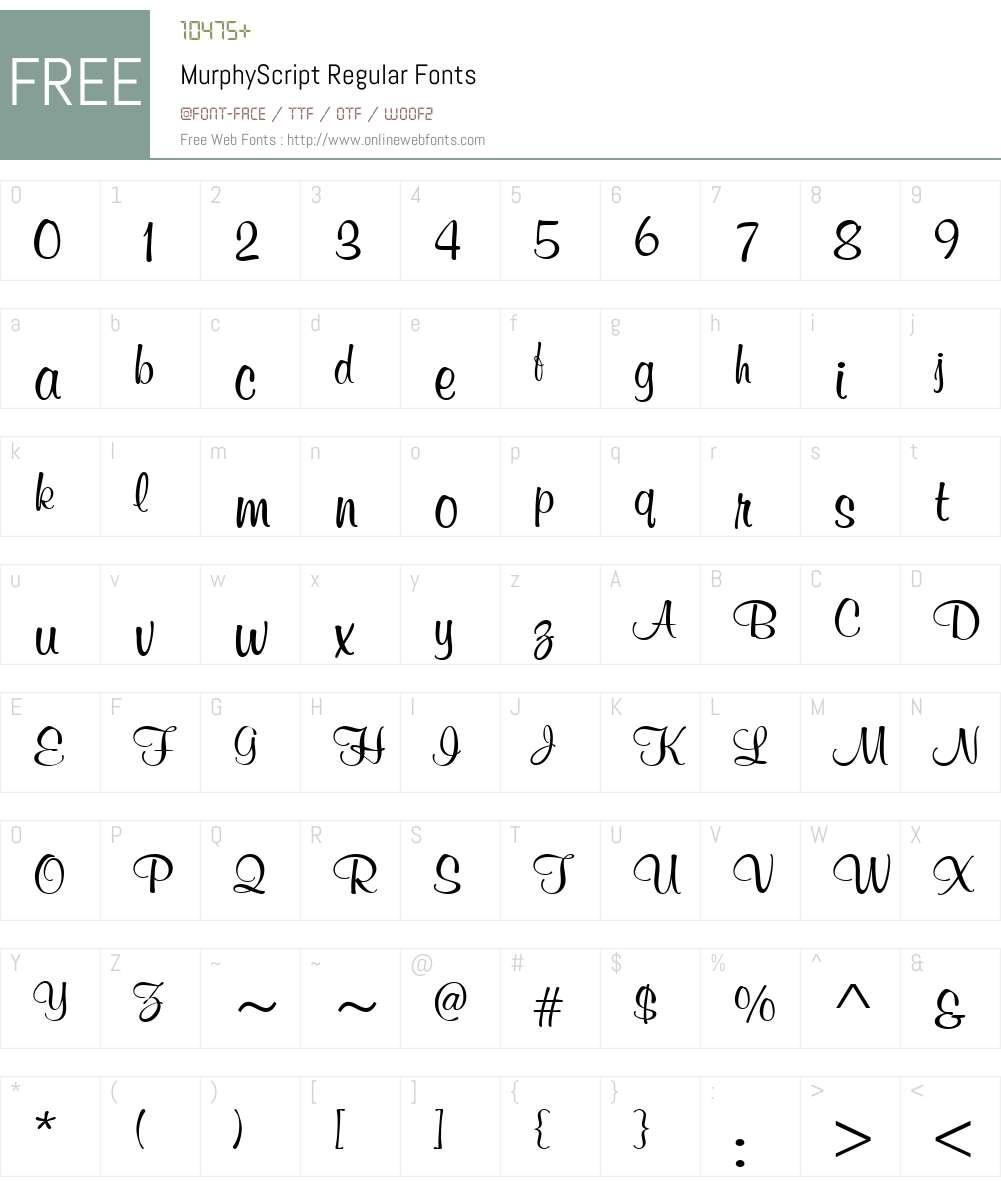 MurphyScript Font Screenshots