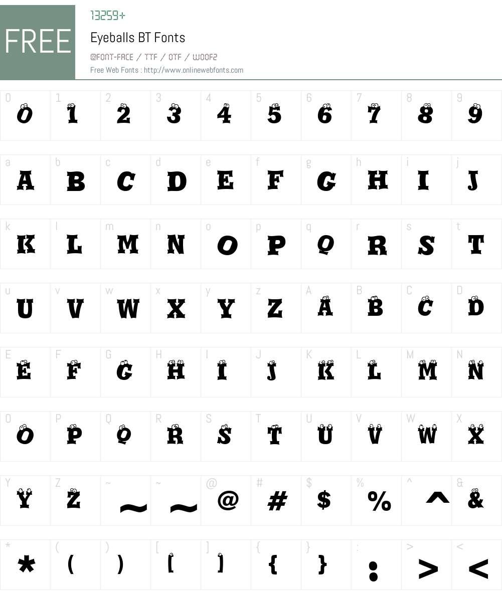 Eyeballs BT Font Screenshots