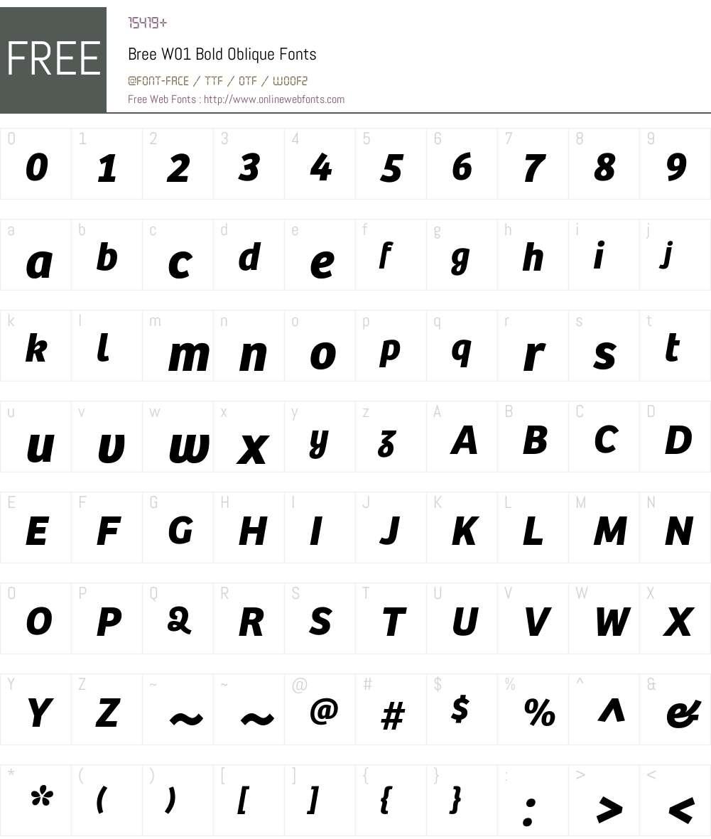 BreeW01-BoldOblique Font Screenshots
