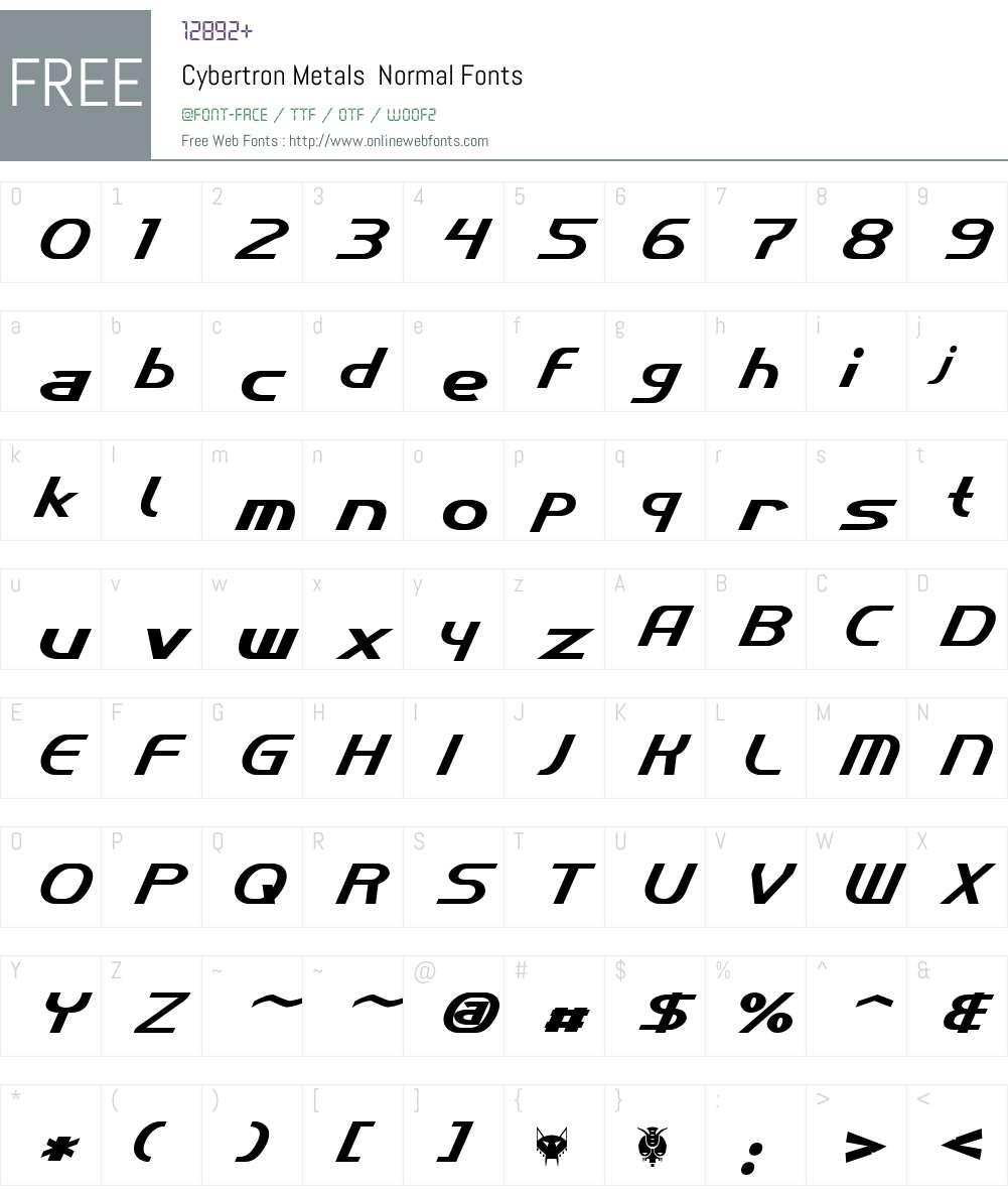 Cybertron Metals Font Screenshots