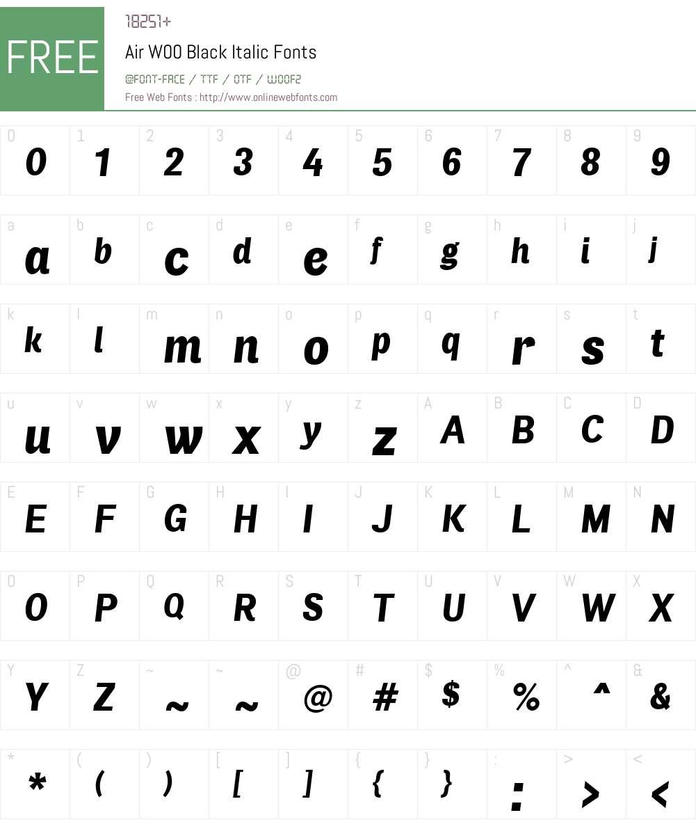 AirW00-BlackItalic Font Screenshots