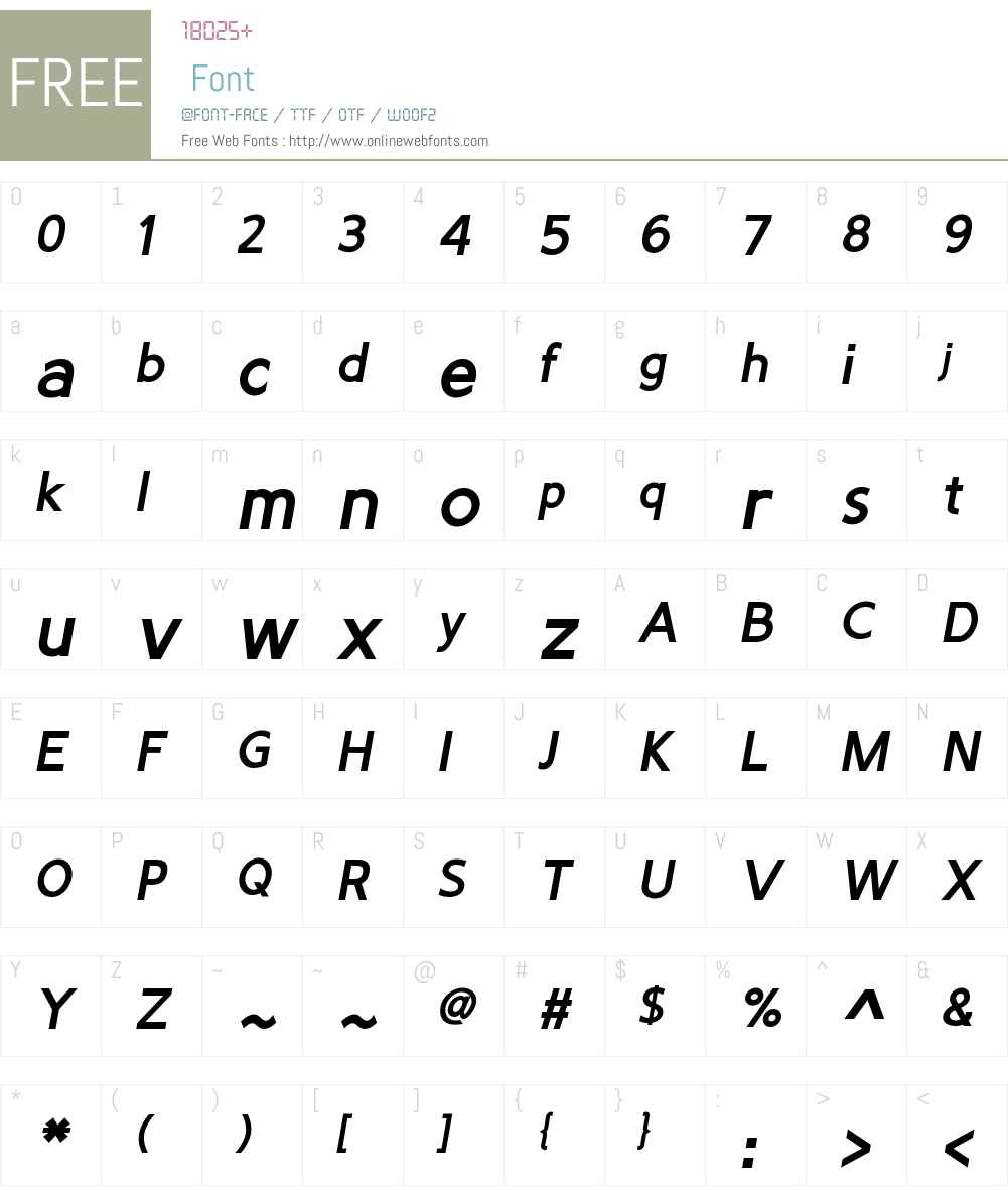 PredicateW01-BoldItalic Font Screenshots