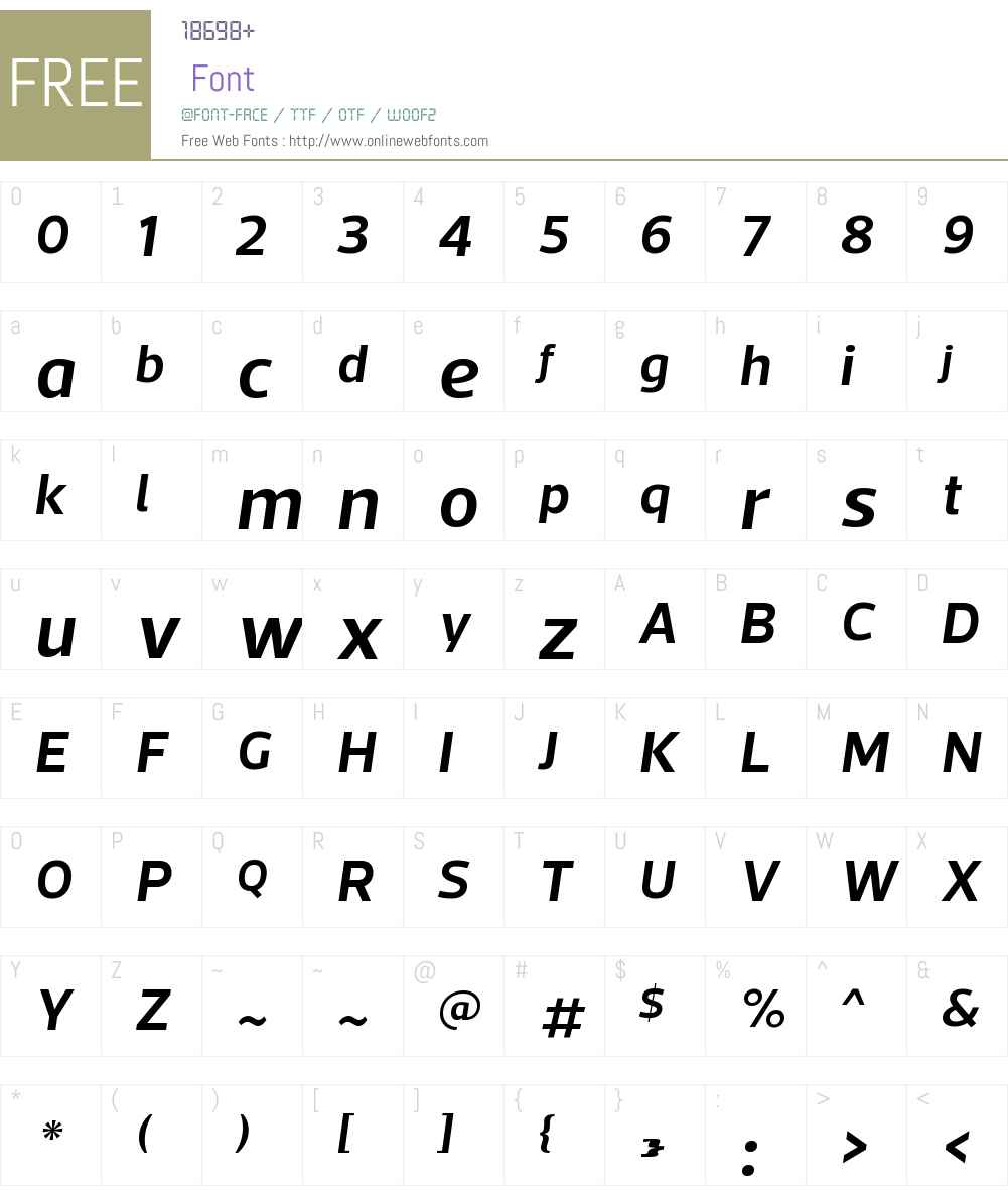 ActoW00-SemiBoldItalic Font Screenshots