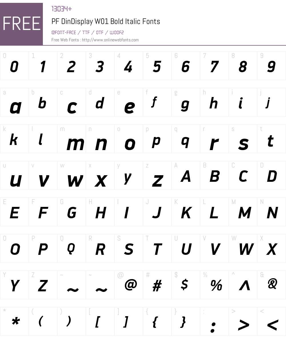 PFDinDisplayW01-BoldItalic Font Screenshots