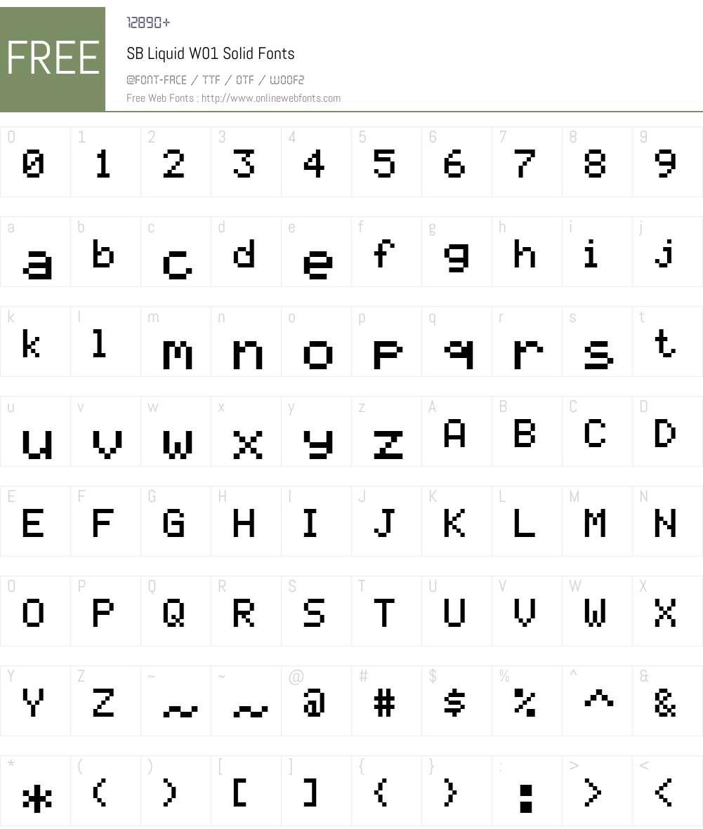 SBLiquidW01-Solid Font Screenshots