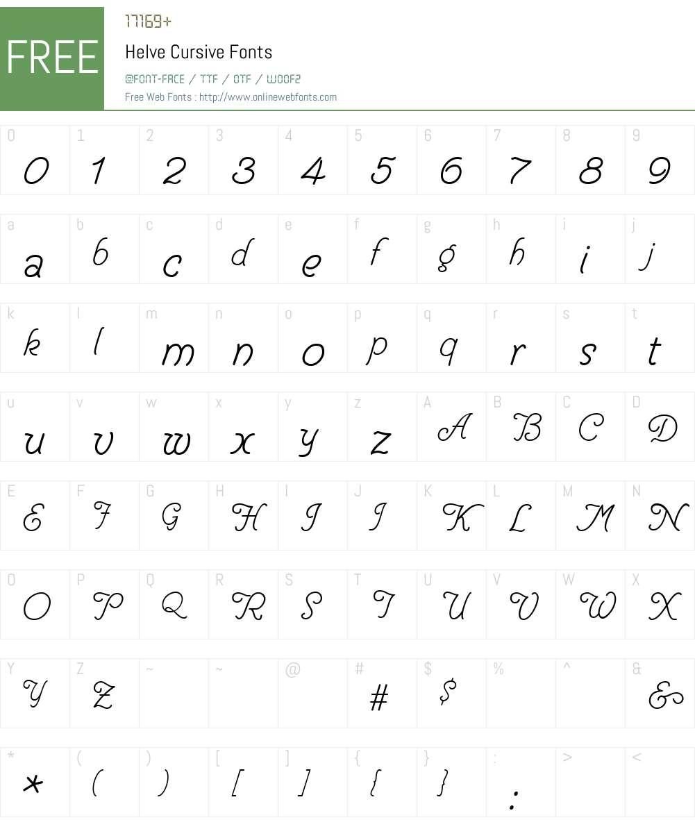 Helve Cursive Font Screenshots