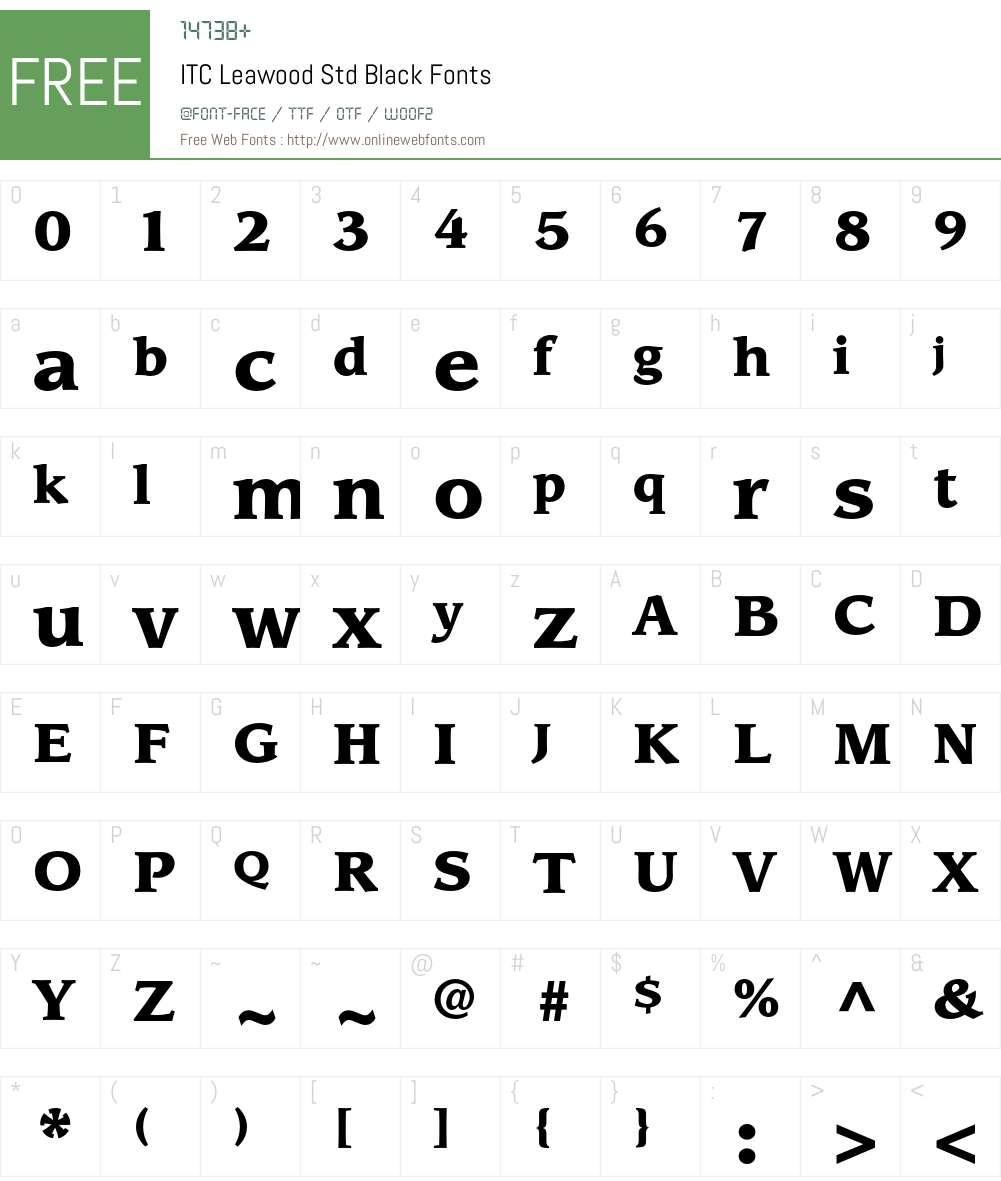 ITC Leawood Std Font Screenshots