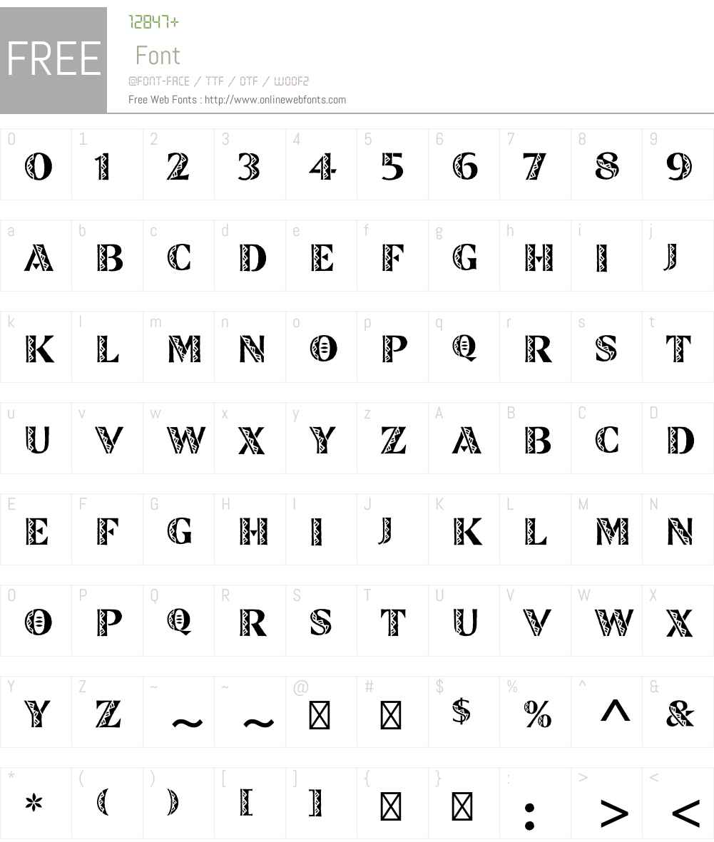 ZinjaroW90 Font Screenshots