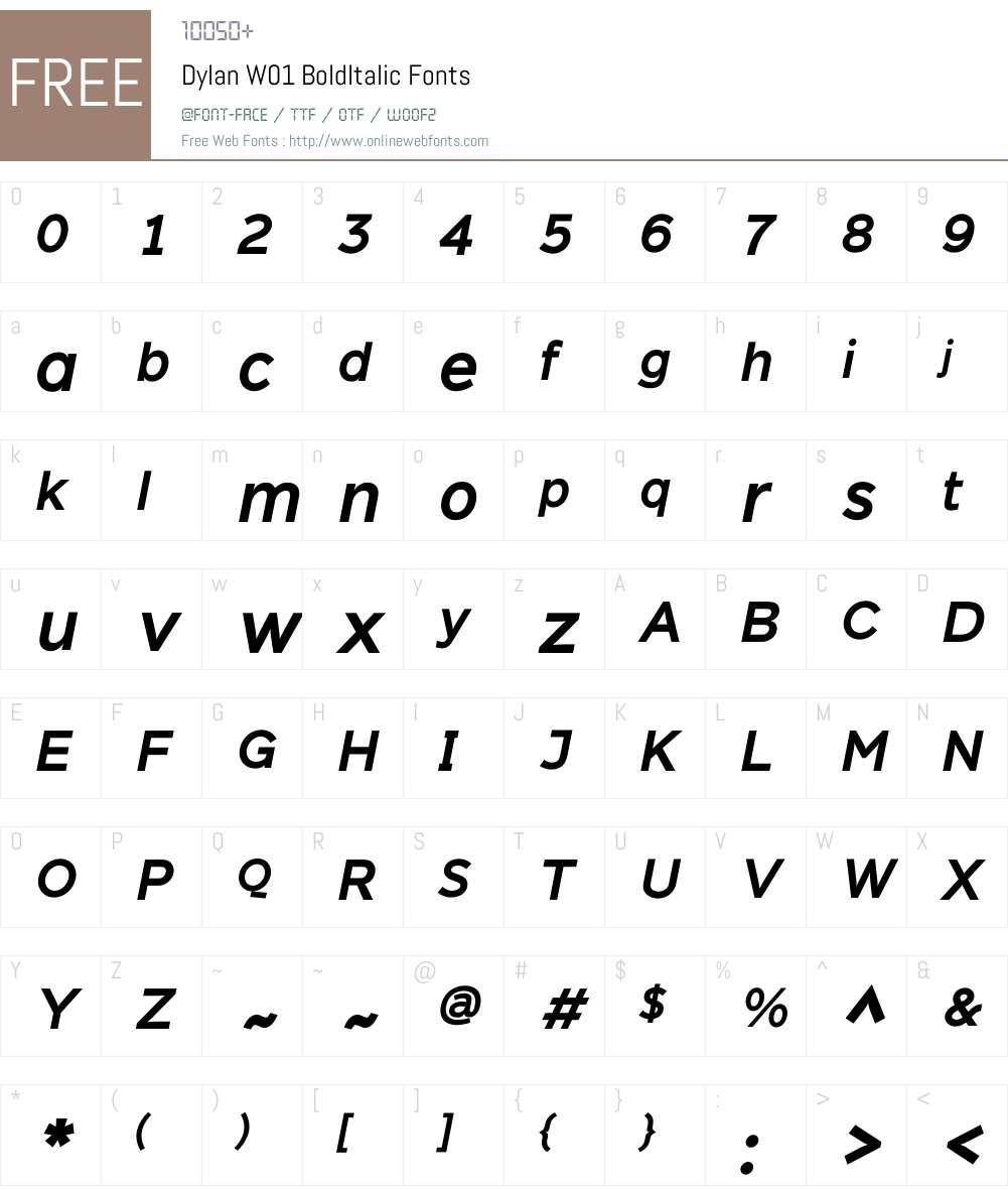 DylanW01-BoldItalic Font Screenshots
