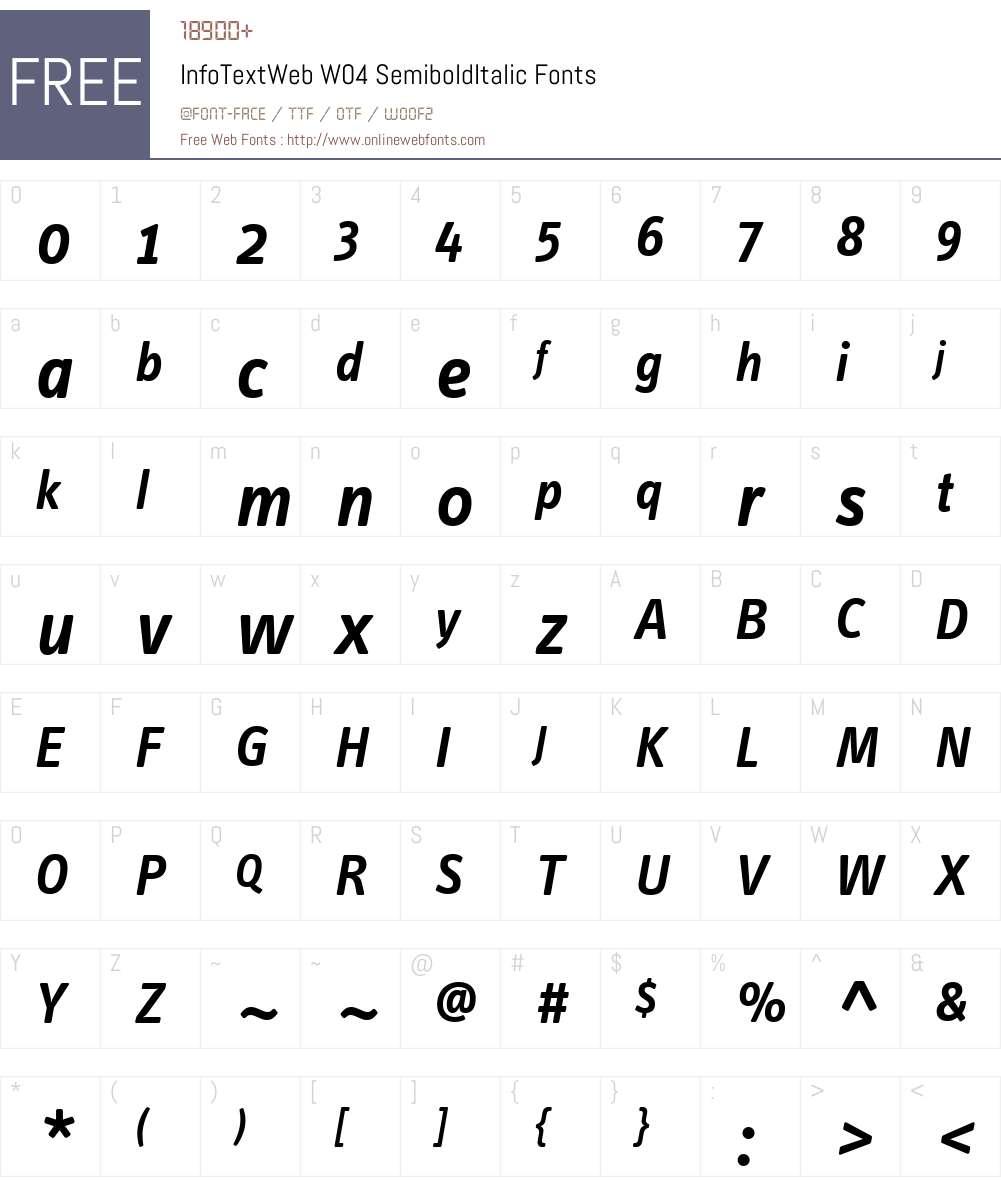 FF Info Text Font Screenshots