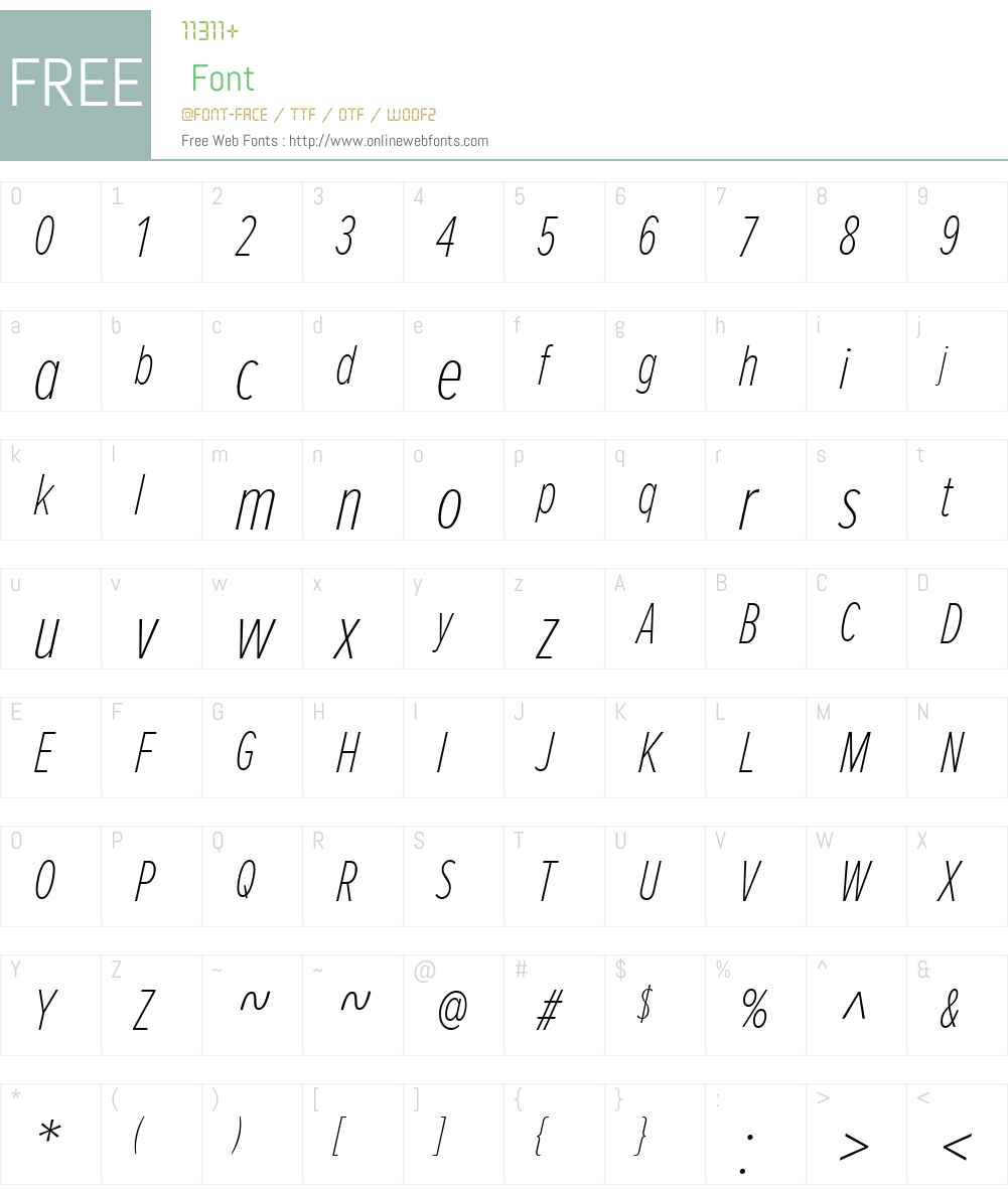 ProximaNovaExtraCondensedW01-ThIt Font Screenshots