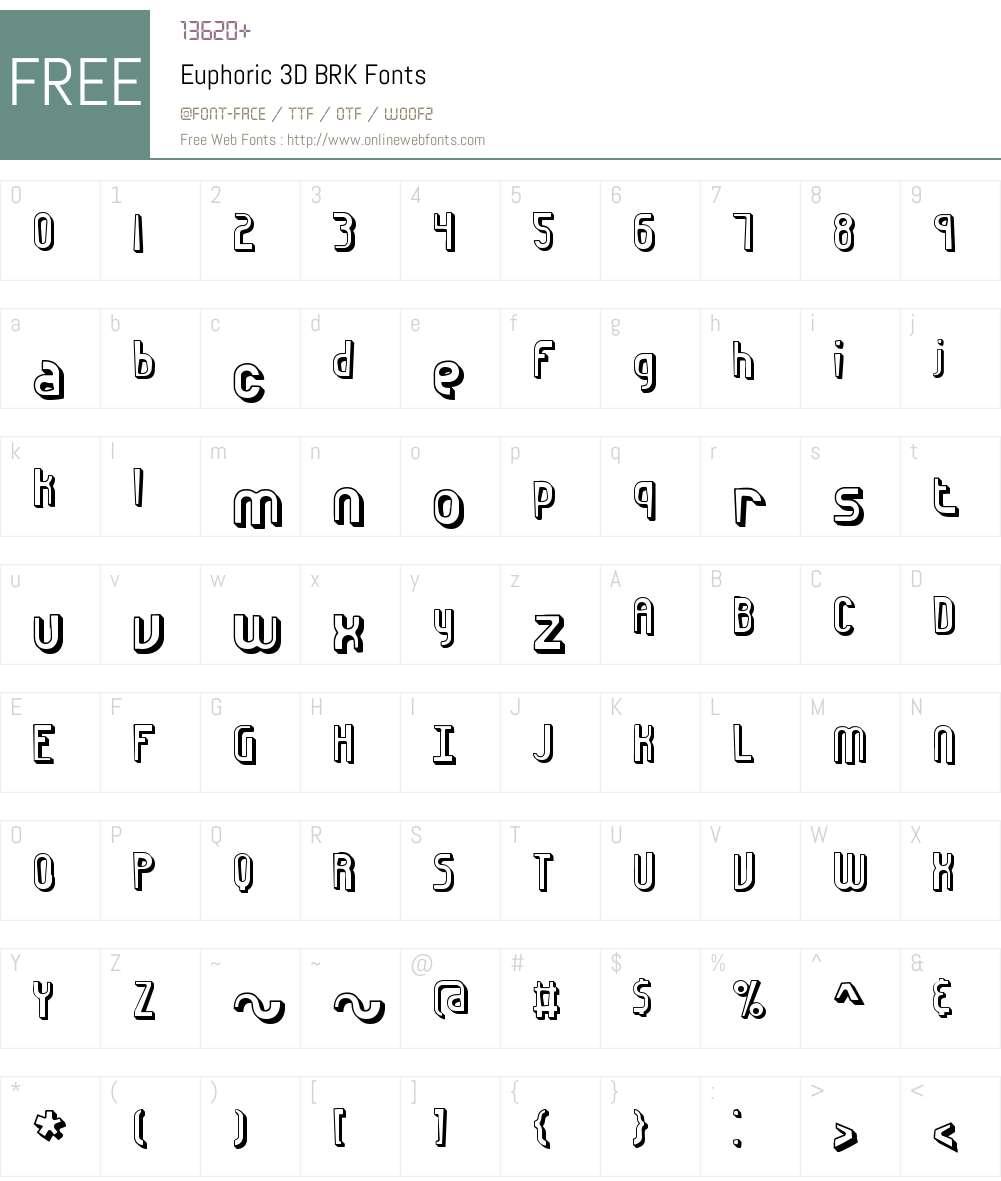 Euphoric 3D BRK Font Screenshots