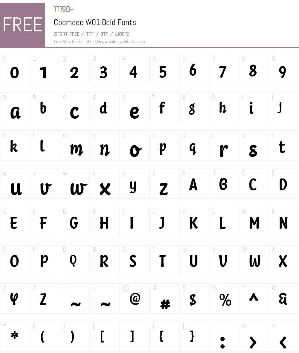 CoomeecW01-Bold Font Screenshots