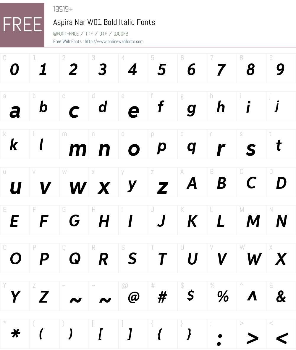 AspiraNarW01-BoldItalic Font Screenshots