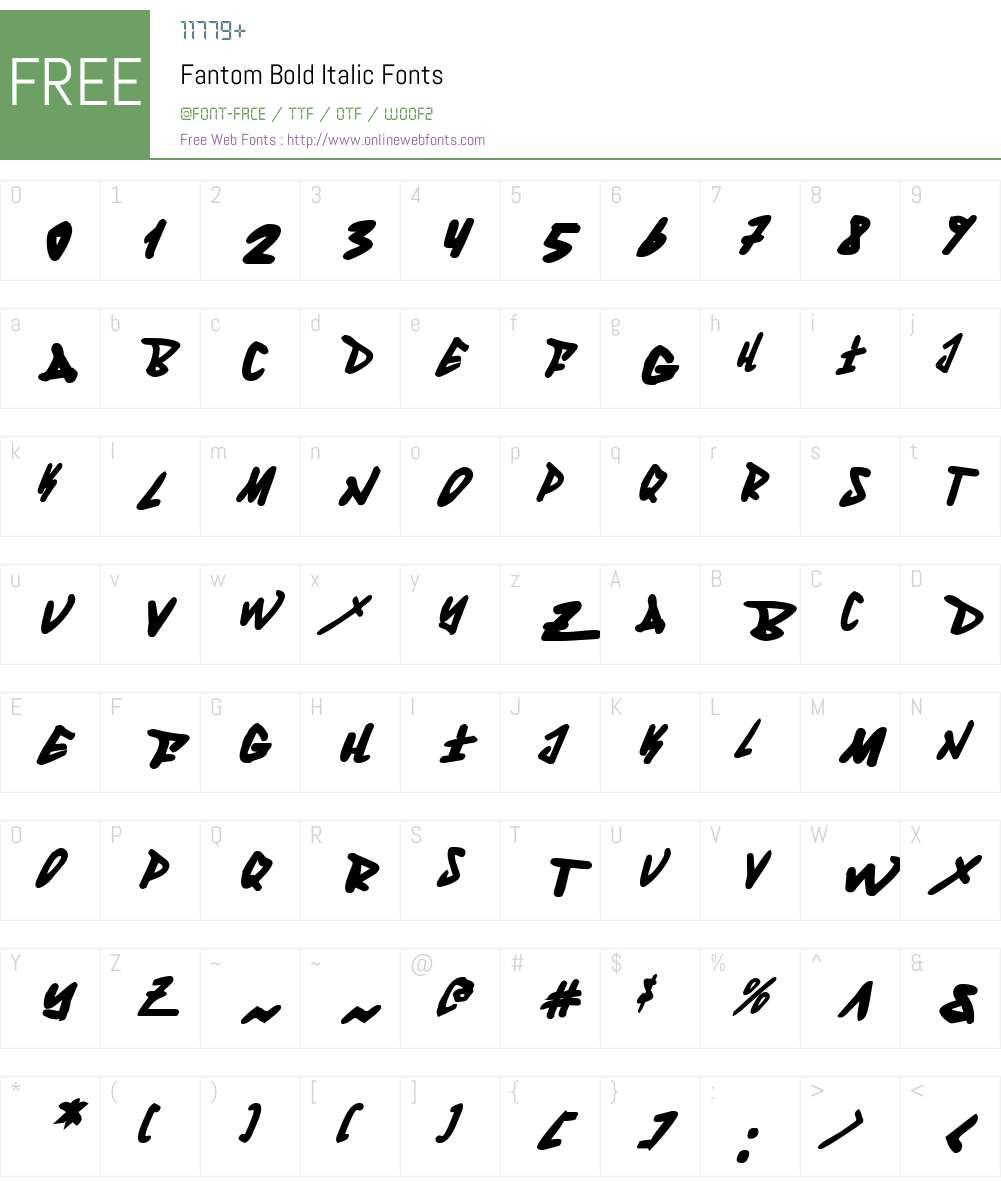 Fantom Bold Italic Font Screenshots