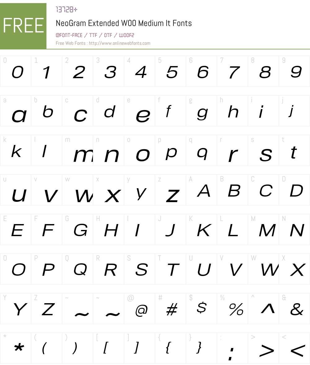 NeoGramExtendedW00-MediumIt Font Screenshots