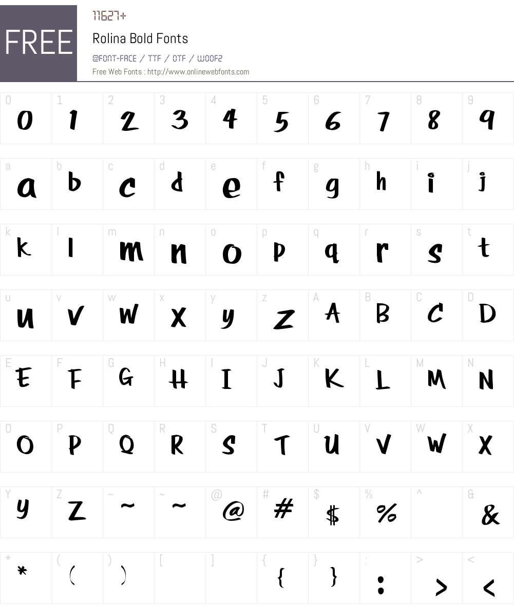 RolinaBold Font Screenshots